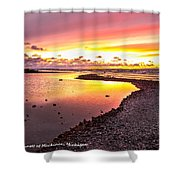 View Opposite Of Mackinac Bridge From Mcgulpin Point At Sunset. Shower Curtain