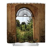 View Through The Monastery Window Shower Curtain