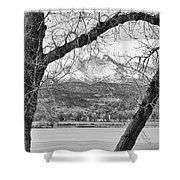 View Through The Trees To Longs Peak Bw Shower Curtain