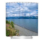 View Two Kluane Lake From Cottonwood Campground Near Destruction Bay-yk Shower Curtain