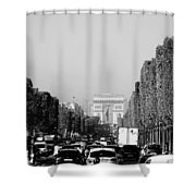 View Up The Champs Elysees Towards The Arc De Triomphe In Paris France  Shower Curtain