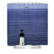 Viewing The Newport Lighthouse Shower Curtain