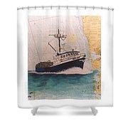 Vigilant Crab Fishing Boat Nautical Chart Art Shower Curtain
