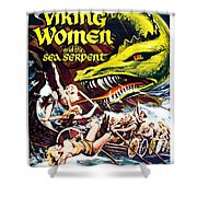 Viking Women And The Sea Serpent Poster Shower Curtain by Gianfranco Weiss