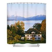 Villa At The Waterfront, Lake Zurich Shower Curtain
