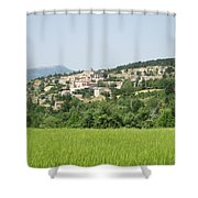 Village Beyond The Wheat Field Shower Curtain