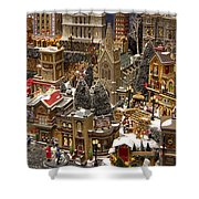 Village Christmas Scene Shower Curtain