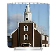 Village Church Of Eyrarbakki Shower Curtain by Michael Thornton