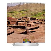 Village In Atlas Mountains In Morocco Shower Curtain