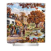 Village In Autumn Shower Curtain
