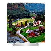 Village In The Mountains Shower Curtain
