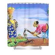 Village Life In Cameroon 01 Shower Curtain