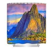 Village On The Naeroyfjord Norway Shower Curtain