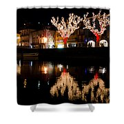 Village Reflected In The Water Shower Curtain