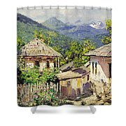 Village Scene In The Mountains Shower Curtain