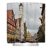 Village Scene Rothenburg Ob Der Tauber Shower Curtain