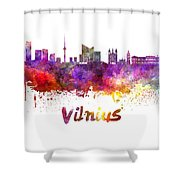 Vilnius Skyline In Watercolor Shower Curtain