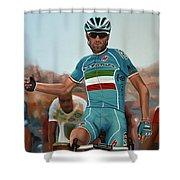 Vincenzo Nibali Painting Shower Curtain