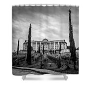 Vineyards And Chateau-bw Shower Curtain