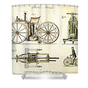 Vintage 1885 Daimler Reitwagen First Motorcycle Shower Curtain by Nikki Marie Smith