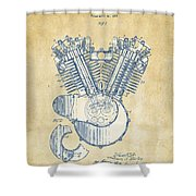 Vintage 1923 Harley Engine Patent Artwork Shower Curtain by Nikki Marie Smith