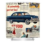 Vintage 1951 Ford Car Advert Shower Curtain