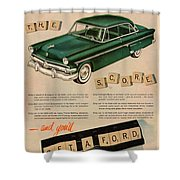 Vintage 1954 Ford Classic Car Advert Shower Curtain