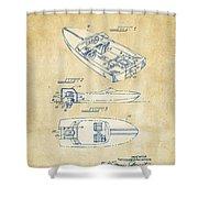 Vintage 1972 Chris Craft Boat Patent Artwork Shower Curtain
