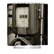 Vintage Air Station In Black And White Shower Curtain
