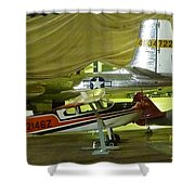 Vintage Airplanes Display Shower Curtain