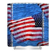 Vintage Amercian Flag Abstract Shower Curtain
