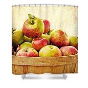 Vintage Apple Basket Shower Curtain