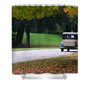 Vintage Auto On The Road Again Shower Curtain by Kay Novy