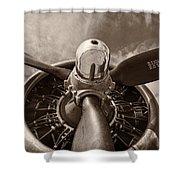 Vintage B-17 Shower Curtain by Adam Romanowicz
