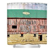 Vintage Barn - Wood And Stone Shower Curtain