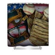 Vintage Baseball American Folk Art Shower Curtain