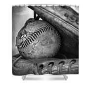 Vintage Baseball And Glove Shower Curtain