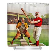 Vintage Baseball Print Shower Curtain