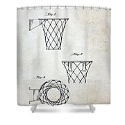 Vintage Basketball Hoop Patent Shower Curtain