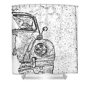 Vintage Beetle Shower Curtain
