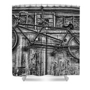 Vintage Bicycle Built For Two In Black And White Shower Curtain