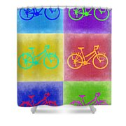 Vintage Bicycle Pop Art 2 Shower Curtain