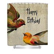 Vintage Birthday Birds Shower Curtain