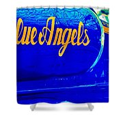 Vintage Blue Angel Shower Curtain by Benjamin Yeager