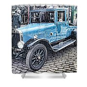 Vintage Blue Car 2 Shower Curtain