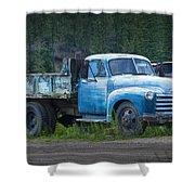 Vintage Blue Chevrolet Pickup Truck Shower Curtain
