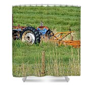 Vintage Blue Tractor Shower Curtain