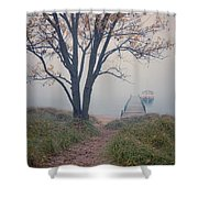 Vintage Boat At Small Dock Shower Curtain