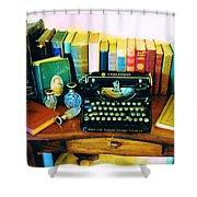 Vintage Books And Typewriter Shower Curtain