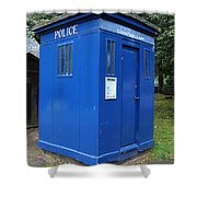Vintage British Blue Police Phone Box Shower Curtain